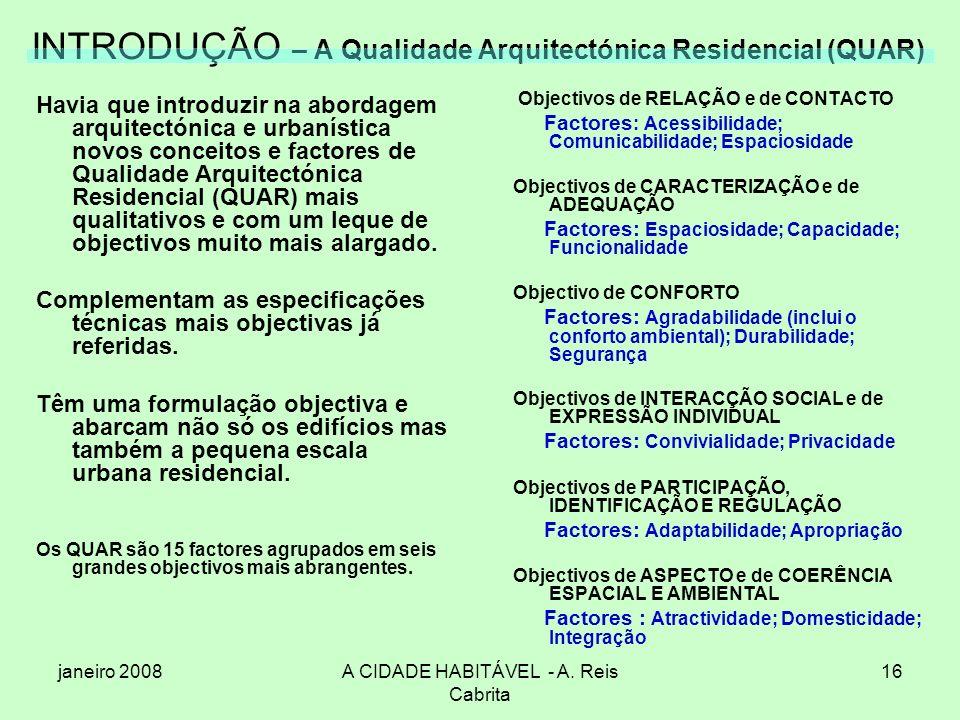 janeiro 2008A CIDADE HABITÁVEL - A. Reis Cabrita 16 INTRODUÇÃO – A Qualidade Arquitectónica Residencial (QUAR) Havia que introduzir na abordagem arqui