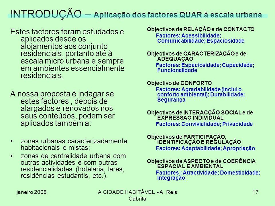 janeiro 2008A CIDADE HABITÁVEL - A. Reis Cabrita 17 INTRODUÇÃO – Aplicação dos factores QUAR à escala urbana Estes factores foram estudados e aplicado