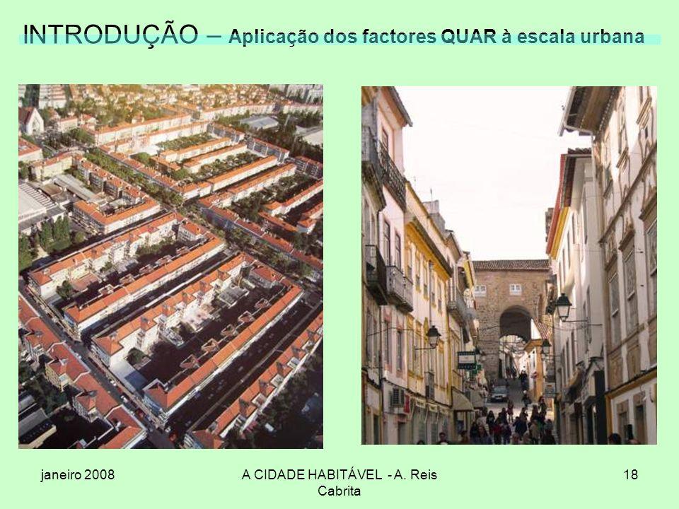 janeiro 2008A CIDADE HABITÁVEL - A. Reis Cabrita 18 INTRODUÇÃO – Aplicação dos factores QUAR à escala urbana