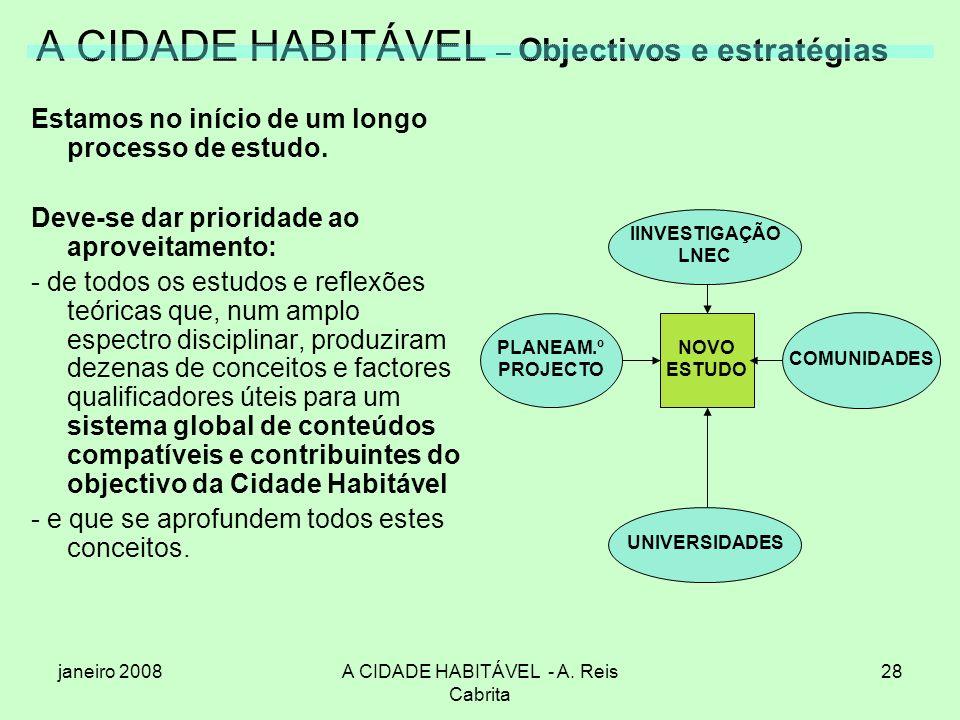 janeiro 2008A CIDADE HABITÁVEL - A. Reis Cabrita 28 A CIDADE HABITÁVEL – Objectivos e estratégias Estamos no início de um longo processo de estudo. De