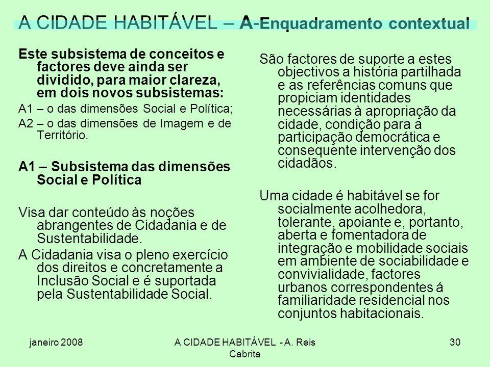 janeiro 2008A CIDADE HABITÁVEL - A. Reis Cabrita 30 A CIDADE HABITÁVEL – A- Enquadramento contextual Este subsistema de conceitos e factores deve aind