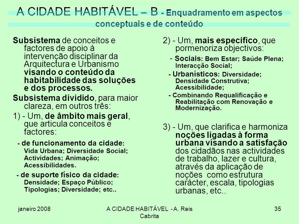 janeiro 2008A CIDADE HABITÁVEL - A. Reis Cabrita 35 A CIDADE HABITÁVEL – B - Enquadramento em aspectos conceptuais e de conteúdo Subsistema de conceit
