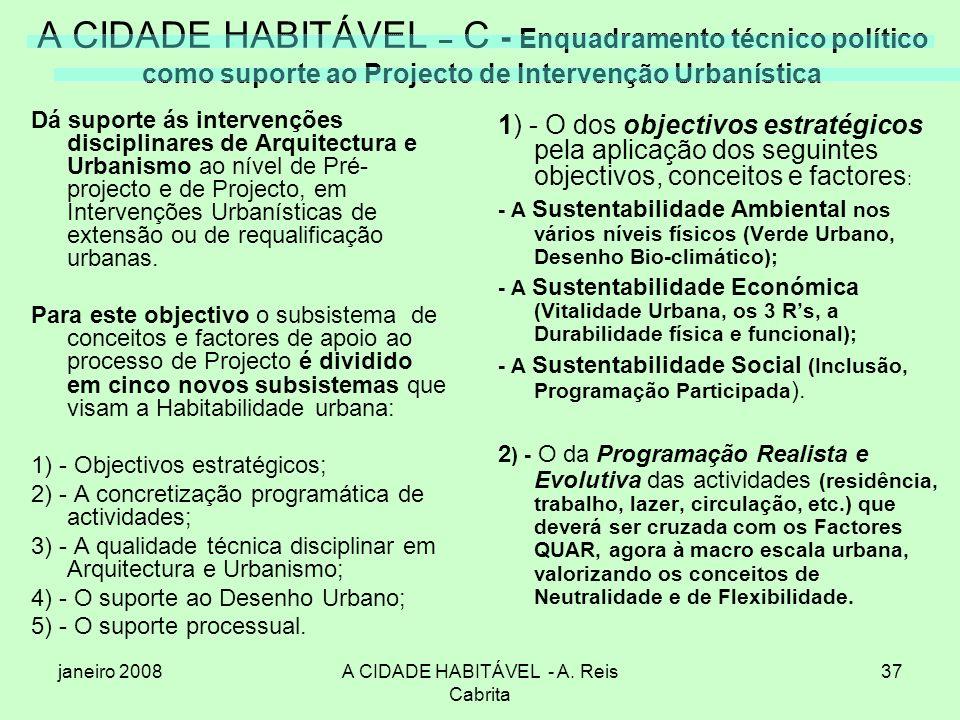 janeiro 2008A CIDADE HABITÁVEL - A. Reis Cabrita 37 A CIDADE HABITÁVEL – C - Enquadramento técnico político como suporte ao Projecto de Intervenção Ur