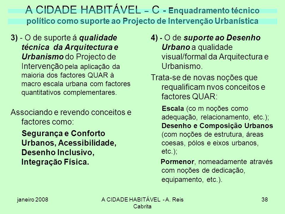 janeiro 2008A CIDADE HABITÁVEL - A. Reis Cabrita 38 A CIDADE HABITÁVEL – C - Enquadramento técnico político como suporte ao Projecto de Intervenção Ur