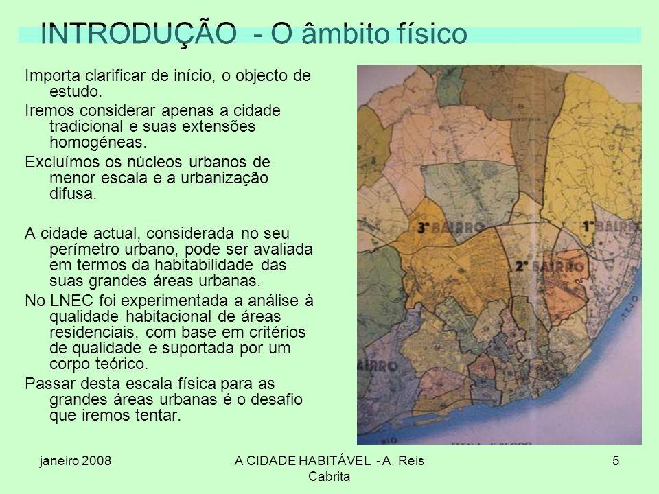 janeiro 2008A CIDADE HABITÁVEL - A. Reis Cabrita 5 INTRODUÇÃO - O âmbito físico Importa clarificar de início, o objecto de estudo. Iremos considerar a