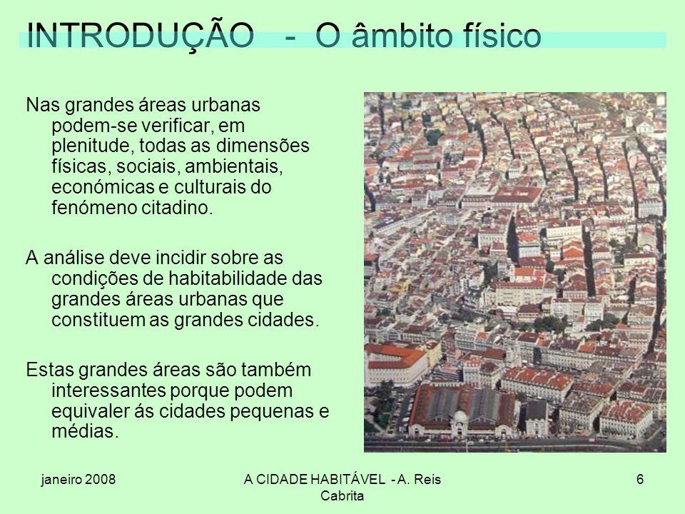 janeiro 2008A CIDADE HABITÁVEL - A. Reis Cabrita 6 INTRODUÇÃO - O âmbito físico Nas grandes áreas urbanas podem-se verificar, em plenitude, todas as d