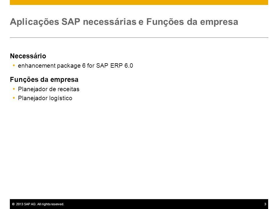 ©2013 SAP AG. All rights reserved.3 Aplicações SAP necessárias e Funções da empresa Necessário enhancement package 6 for SAP ERP 6.0 Funções da empres