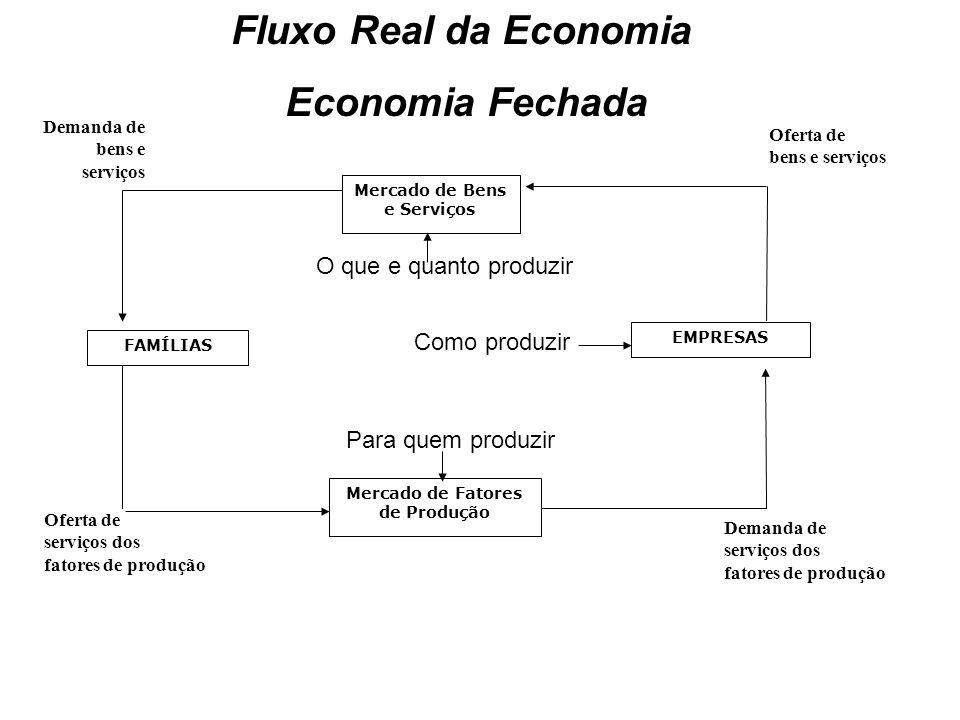 Funcionamento de uma economia de mercado: fluxos reais Agentes econômicos são as famílias (unidades familiares) e as empresas (unidades produtoras).Agentes econômicos são as famílias (unidades familiares) e as empresas (unidades produtoras).