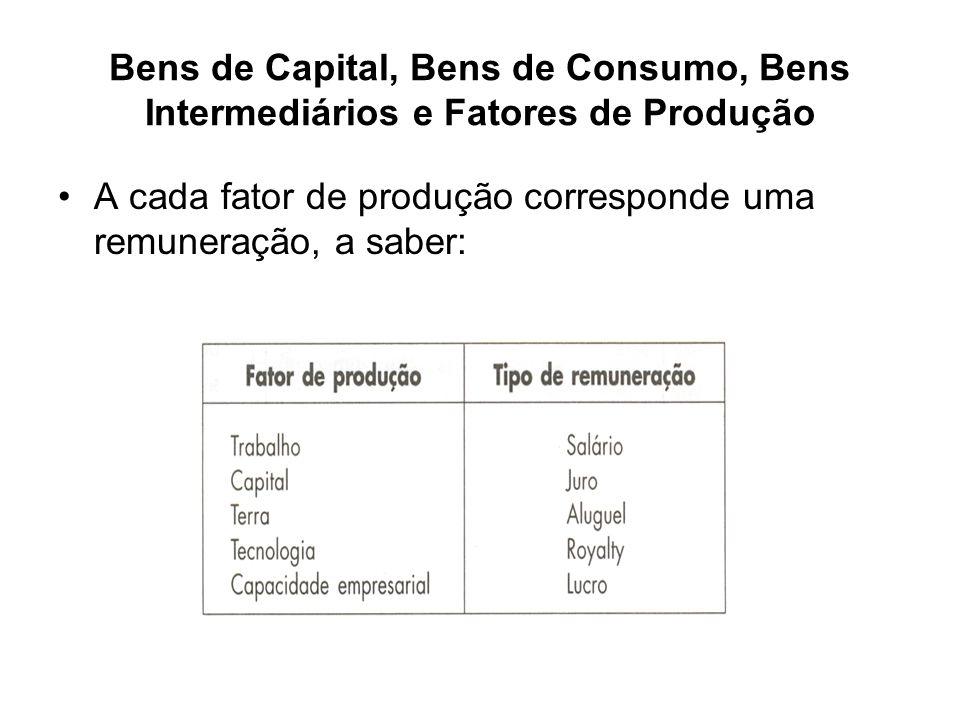 Bens de Capital, Bens de Consumo, Bens Intermediários e Fatores de Produção Os bens de capital, como não são consumidos no processo produtivo, são também bens finais.