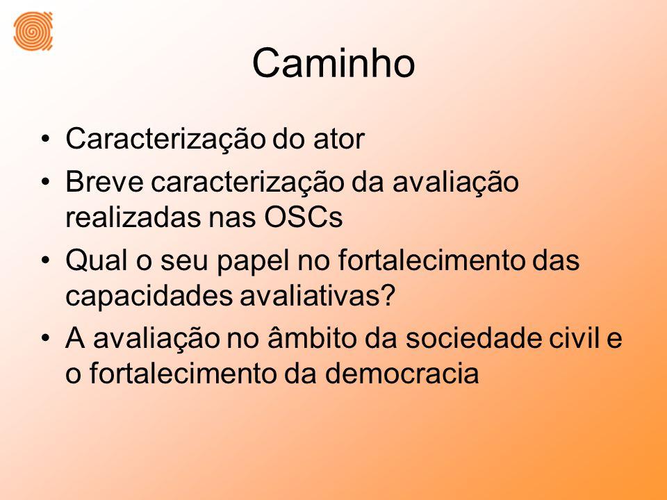 Caminho Caracterização do ator Breve caracterização da avaliação realizadas nas OSCs Qual o seu papel no fortalecimento das capacidades avaliativas.
