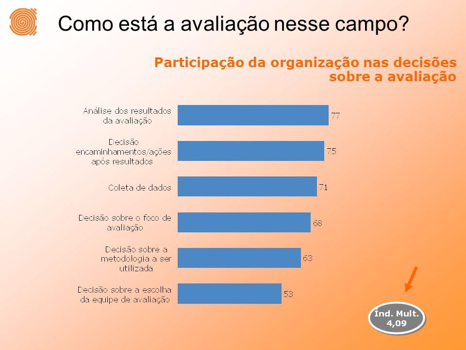 Participação da organização nas decisões sobre a avaliação
