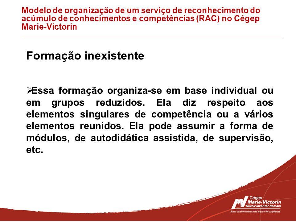Modelo de organização de um serviço de reconhecimento do acúmulo de conhecimentos e competências (RAC) no Cégep Marie-Victorin Formação inexistente Es