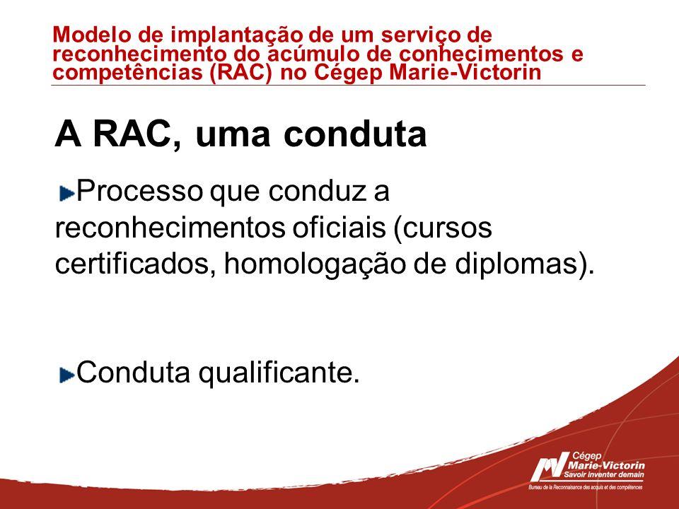 Modelo de implantação de um serviço de reconhecimento do acúmulo de conhecimentos e competências (RAC) no Cégep Marie-Victorin A RAC, uma conduta Processo que conduz a reconhecimentos oficiais (cursos certificados, homologação de diplomas).