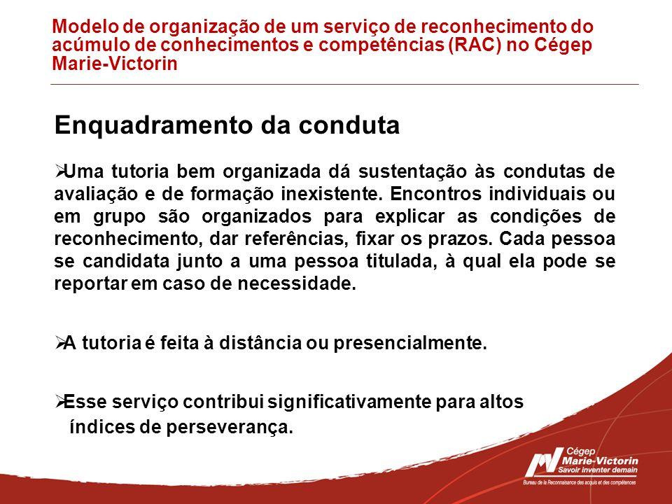 Modelo de organização de um serviço de reconhecimento do acúmulo de conhecimentos e competências (RAC) no Cégep Marie-Victorin Enquadramento da condut