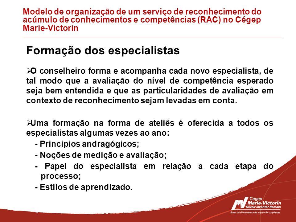 Modelo de organização de um serviço de reconhecimento do acúmulo de conhecimentos e competências (RAC) no Cégep Marie-Victorin Formação dos especialis