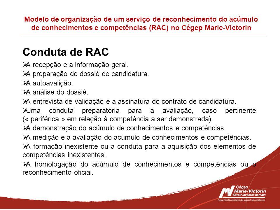 Modelo de organização de um serviço de reconhecimento do acúmulo de conhecimentos e competências (RAC) no Cégep Marie-Victorin Conduta de RAC A recepç