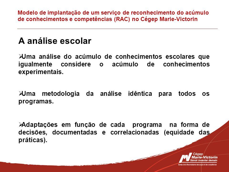 Modelo de implantação de um serviço de reconhecimento do acúmulo de conhecimentos e competências (RAC) no Cégep Marie-Victorin A análise escolar Uma a