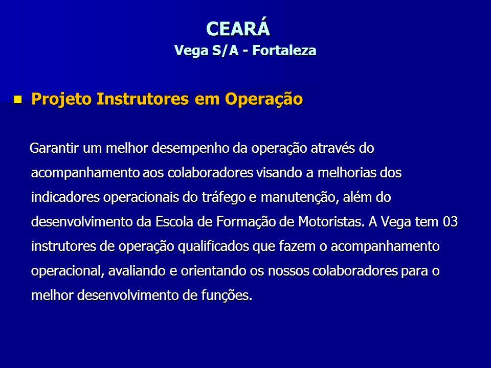 CEARÁ Vega S/A - Fortaleza Projeto Instrutores em Operação Projeto Instrutores em Operação Garantir um melhor desempenho da operação através do acompa