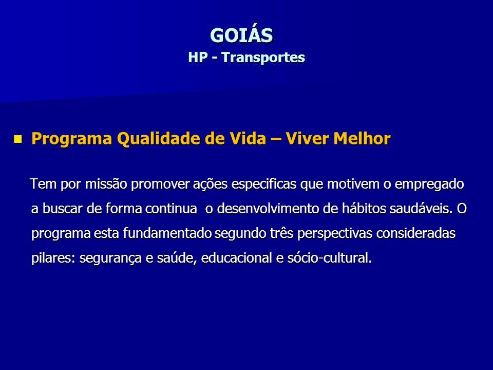GOIÁS HP - Transportes Programa Qualidade de Vida – Viver Melhor Programa Qualidade de Vida – Viver Melhor Tem por missão promover ações especificas q