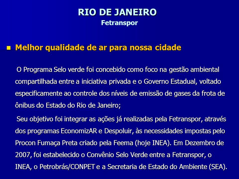 RIO DE JANEIRO RIO DE JANEIRO Fetranspor Melhor qualidade de ar para nossa cidade Melhor qualidade de ar para nossa cidade O Programa Selo verde foi c