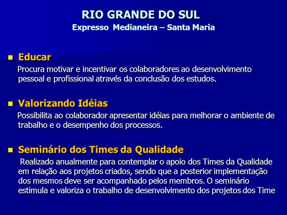 RIO GRANDE DO SUL RIO GRANDE DO SUL Expresso Medianeira – Santa Maria Educar Educar Procura motivar e incentivar os colaboradores ao desenvolvimento p