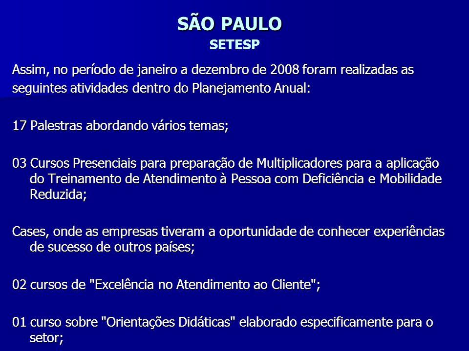 SÃO PAULO SÃO PAULO SETESP Assim, no período de janeiro a dezembro de 2008 foram realizadas as seguintes atividades dentro do Planejamento Anual: 17 P