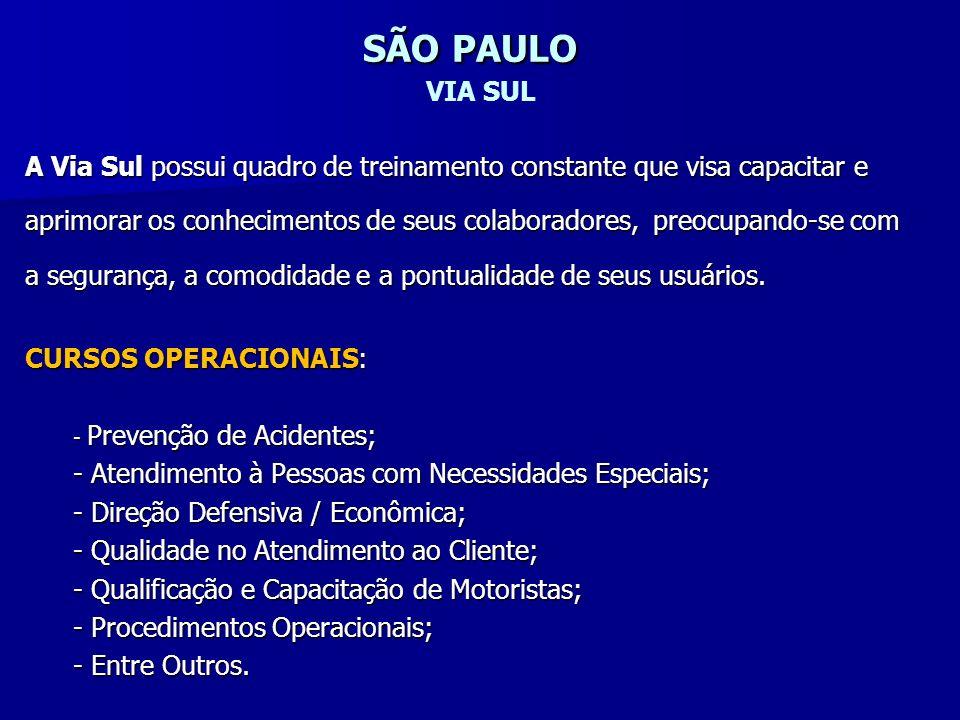 SÃO PAULO SÃO PAULO VIA SUL A Via Sul possui quadro de treinamento constante que visa capacitar e aprimorar os conhecimentos de seus colaboradores, pr