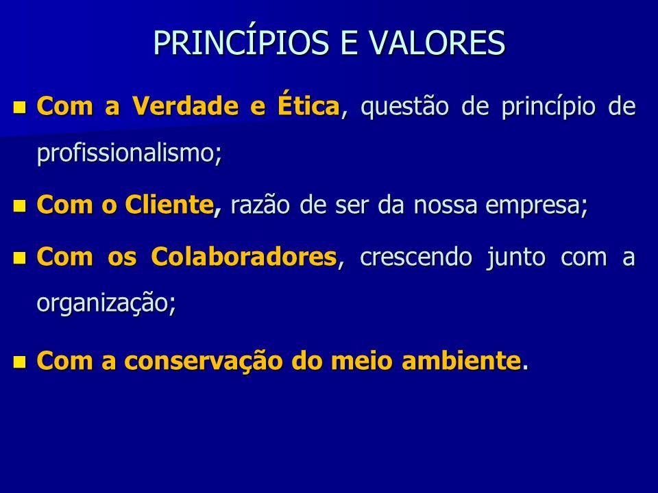 PRINCÍPIOS E VALORES Com a Verdade e Ética, questão de princípio de profissionalismo; Com a Verdade e Ética, questão de princípio de profissionalismo;
