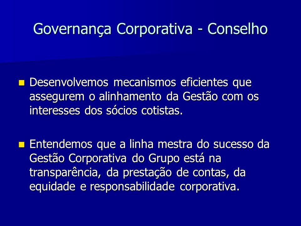 Governança Corporativa - Conselho Desenvolvemos mecanismos eficientes que assegurem o alinhamento da Gestão com os interesses dos sócios cotistas. Des
