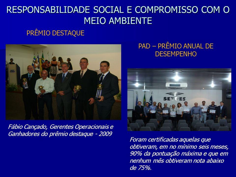 RESPONSABILIDADE SOCIAL E COMPROMISSO COM O MEIO AMBIENTE Fábio Cançado, Gerentes Operacionais e Ganhadores do prêmio destaque - 2009 PAD – PRÊMIO ANU