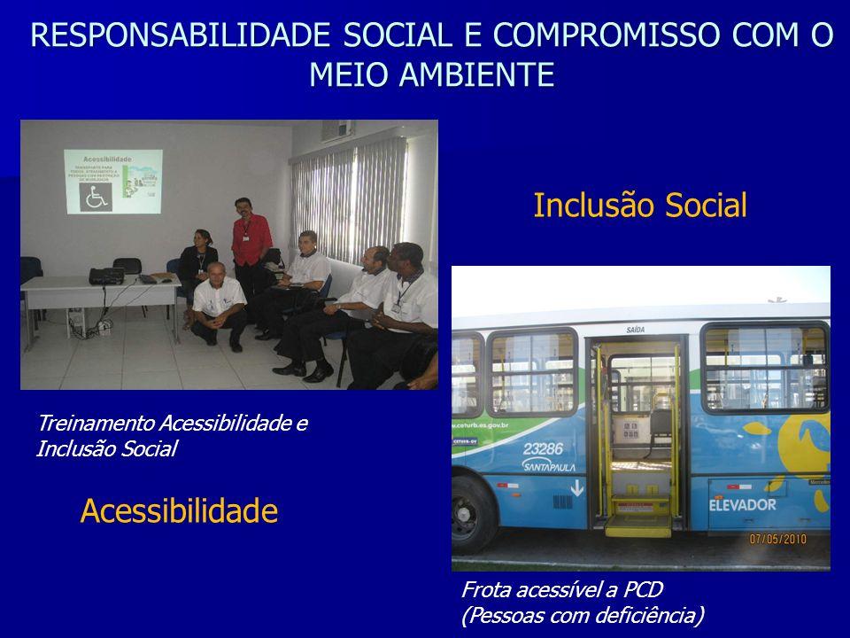 RESPONSABILIDADE SOCIAL E COMPROMISSO COM O MEIO AMBIENTE Treinamento Acessibilidade e Inclusão Social Acessibilidade Frota acessível a PCD (Pessoas c