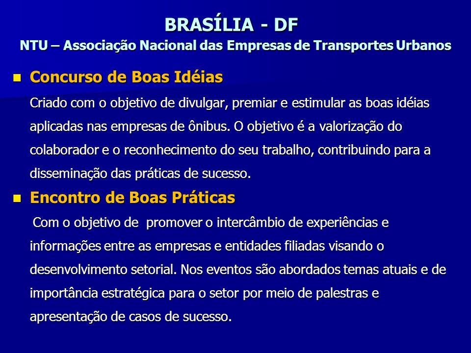 BRASÍLIA - DF NTU – Associação Nacional das Empresas de Transportes Urbanos Concurso de Boas Idéias Criado com o objetivo de divulgar, premiar e estim