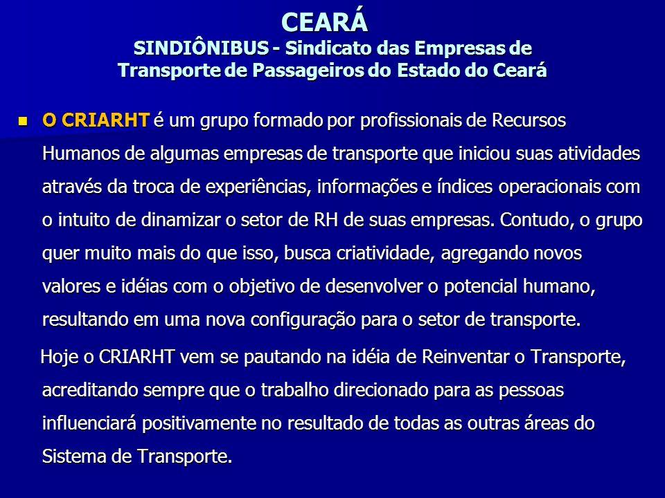CEARÁ SINDIÔNIBUS - Sindicato das Empresas de Transporte de Passageiros do Estado do Ceará O CRIARHT é um grupo formado por profissionais de Recursos