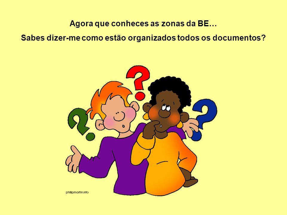 Agora que conheces as zonas da BE… Sabes dizer-me como estão organizados todos os documentos?