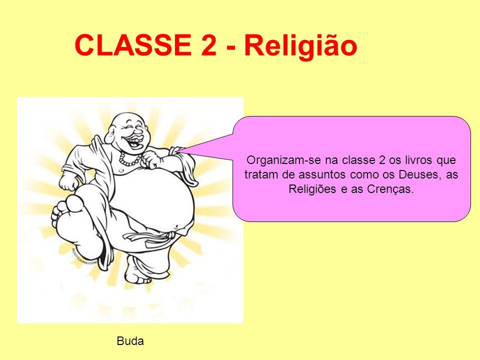 CLASSE 2 - Religião Organizam-se na classe 2 os livros que tratam de assuntos como os Deuses, as Religiões e as Crenças. Buda