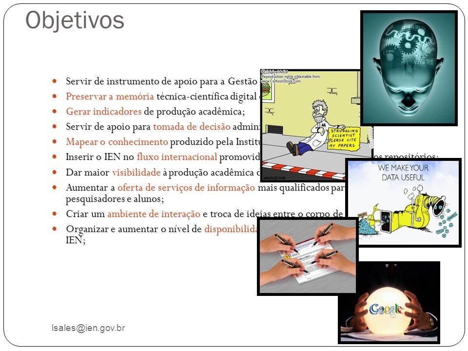 Objetivos lsales@ien.gov.br Servir de instrumento de apoio para a Gestão de Conhecimento no IEN Servir de instrumento de apoio para a Gestão de Conhec