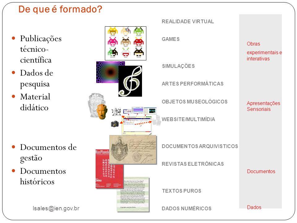 De que é formado? lsales@ien.gov.br Publicações técnico- científica Dados de pesquisa Material didático Documentos de gestão Documentos históricos REA