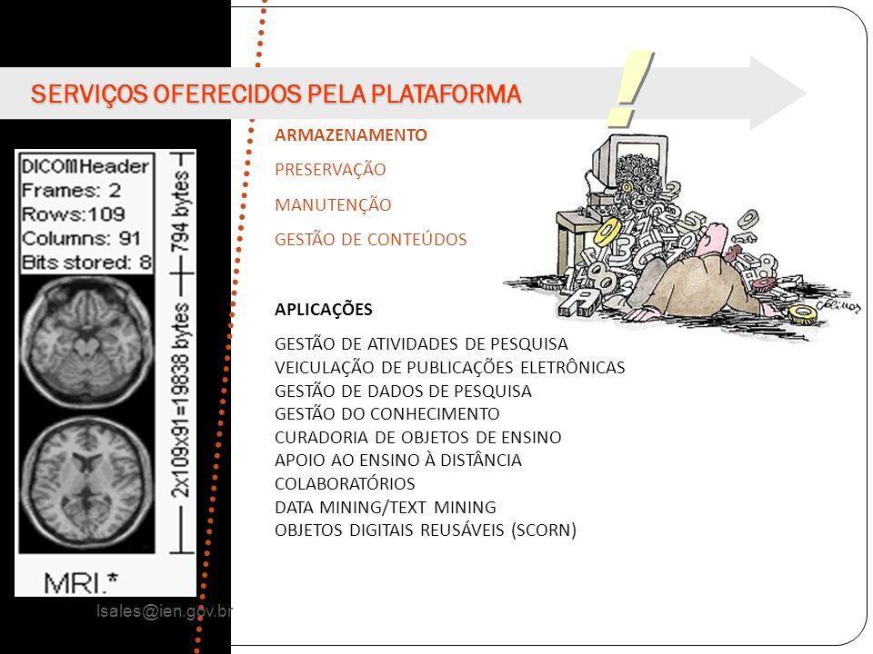 ! ! ARMAZENAMENTO PRESERVAÇÃO MANUTENÇÃO GESTÃO DE CONTEÚDOS APLICAÇÕES GESTÃO DE ATIVIDADES DE PESQUISA VEICULAÇÃO DE PUBLICAÇÕES ELETRÔNICAS GESTÃO