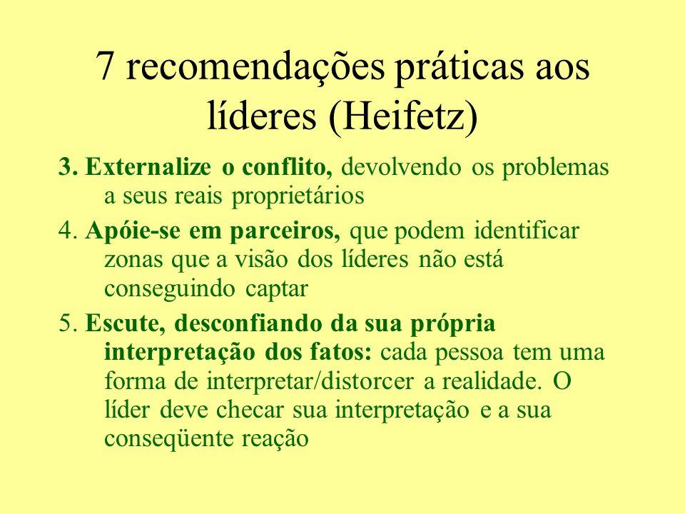7 recomendações práticas aos líderes (Heifetz) 3. Externalize o conflito, devolvendo os problemas a seus reais proprietários 4. Apóie-se em parceiros,