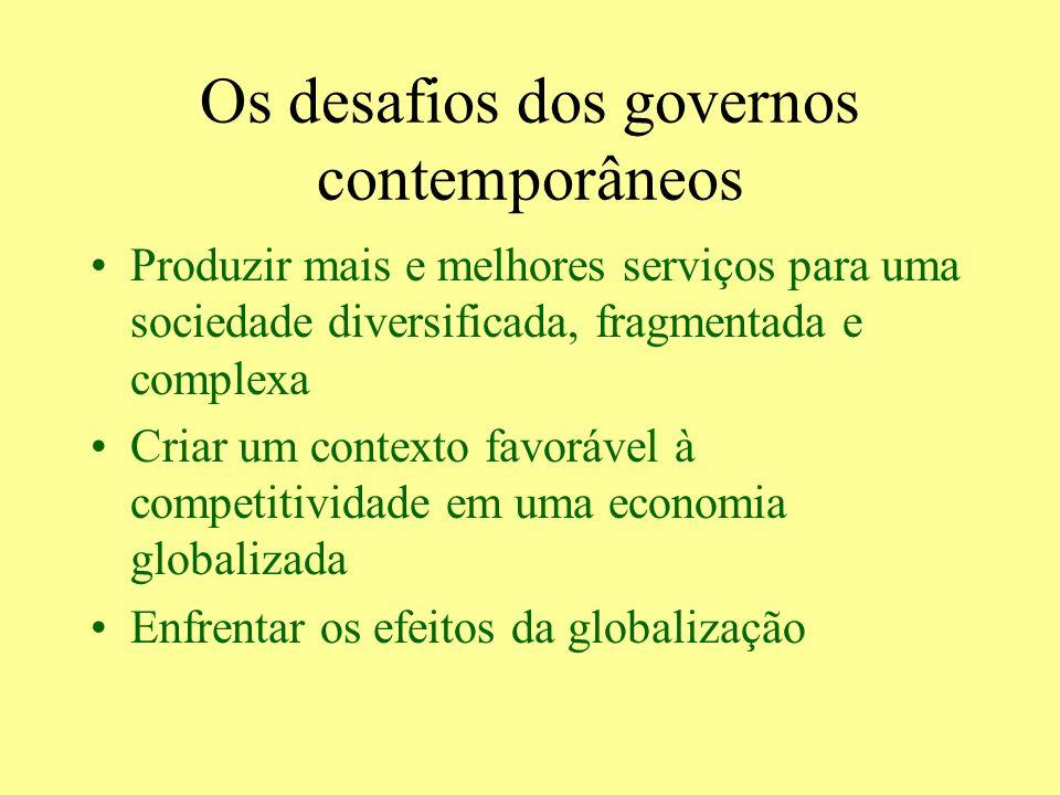 Os desafios dos governos contemporâneos Produzir mais e melhores serviços para uma sociedade diversificada, fragmentada e complexa Criar um contexto f
