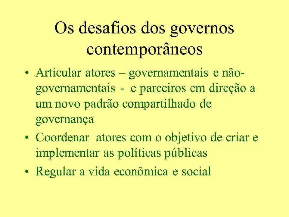 Os desafios dos governos contemporâneos Articular atores – governamentais e não- governamentais - e parceiros em direção a um novo padrão compartilhad