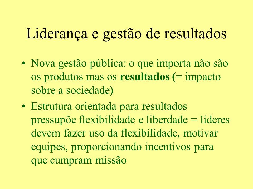 Liderança e gestão de resultados Nova gestão pública: o que importa não são os produtos mas os resultados (= impacto sobre a sociedade) Estrutura orie