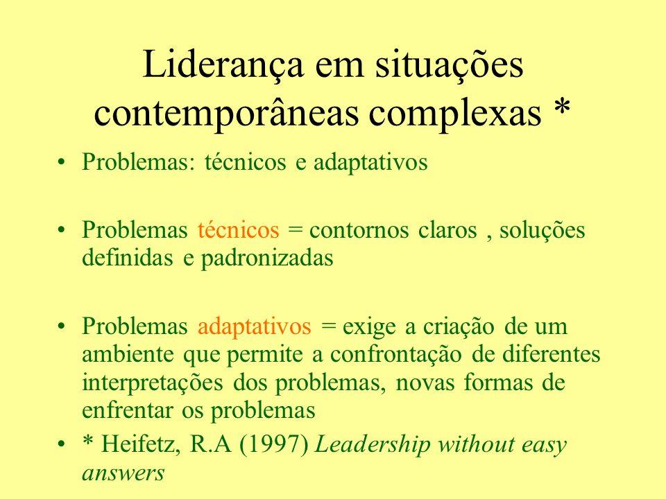 Liderança em situações contemporâneas complexas * Problemas: técnicos e adaptativos Problemas técnicos = contornos claros, soluções definidas e padron