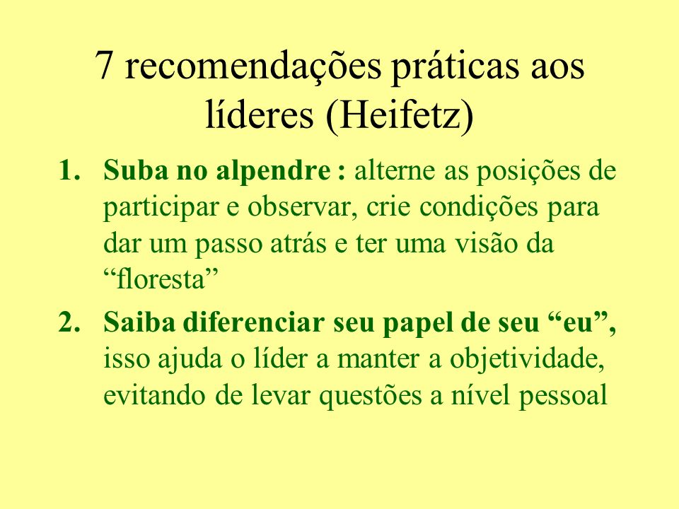 7 recomendações práticas aos líderes (Heifetz) 1.Suba no alpendre : alterne as posições de participar e observar, crie condições para dar um passo atr