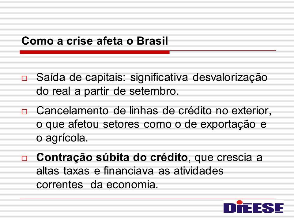 Como a crise afeta o Brasil Saída de capitais: significativa desvalorização do real a partir de setembro. Cancelamento de linhas de crédito no exterio