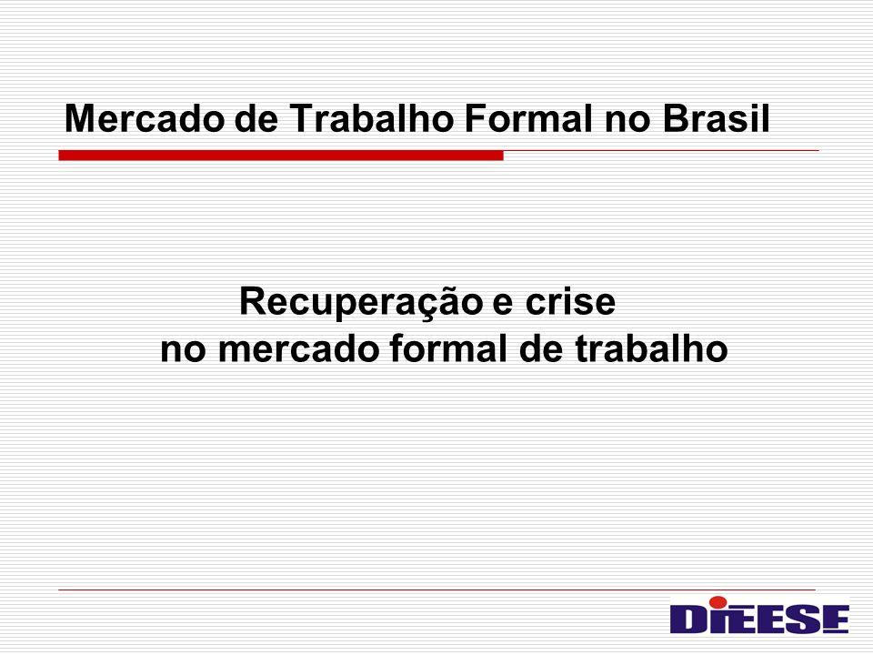 Mercado de Trabalho Formal no Brasil Recuperação e crise no mercado formal de trabalho
