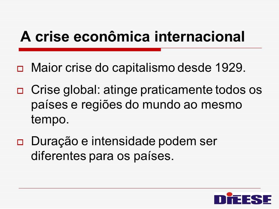 A crise econômica internacional Maior crise do capitalismo desde 1929. Crise global: atinge praticamente todos os países e regiões do mundo ao mesmo t