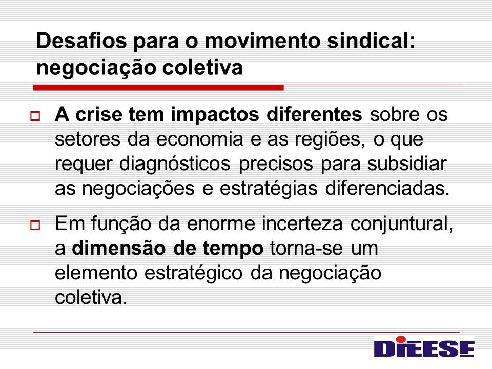 Desafios para o movimento sindical: negociação coletiva A crise tem impactos diferentes sobre os setores da economia e as regiões, o que requer diagnó