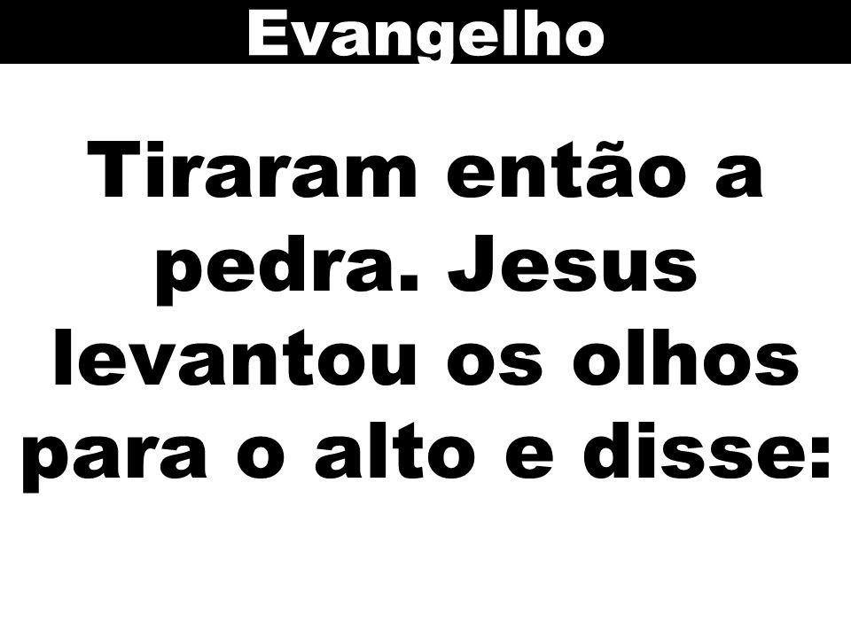 Tiraram então a pedra. Jesus levantou os olhos para o alto e disse: Evangelho