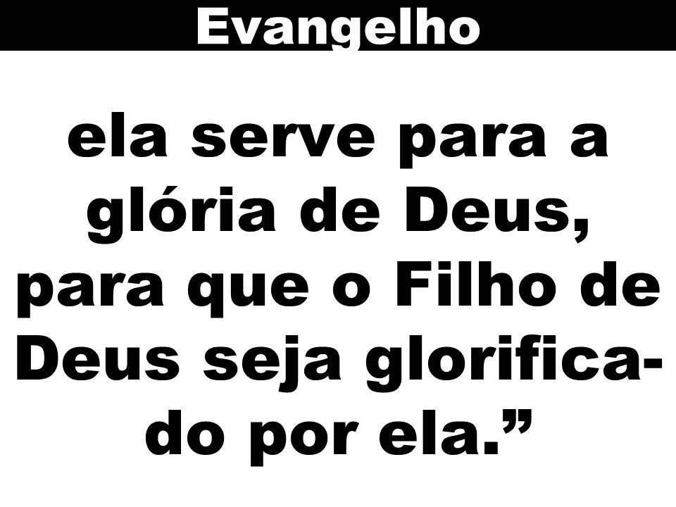 ela serve para a glória de Deus, para que o Filho de Deus seja glorifica- do por ela. Evangelho